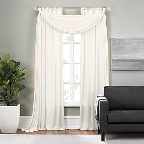 Epic rod pocket window curtain panels and scarf valance - Epic window treatment decoration with slate blue curtain ...