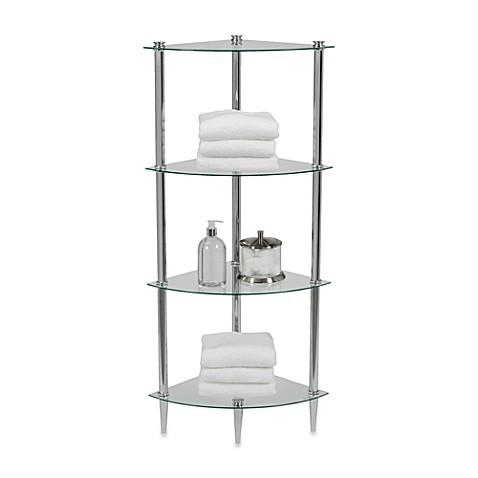 Buy Creative Bath L 39 Etager 4 Shelf Glass Corner Tower In Chrome From Bed Bath Beyond