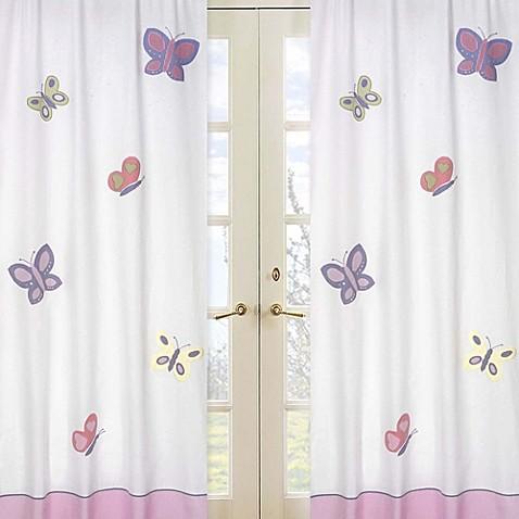 Sweet Jojo Designs Butterfly Window Curtain Panel Pair In Pink Purple Buybuy Baby