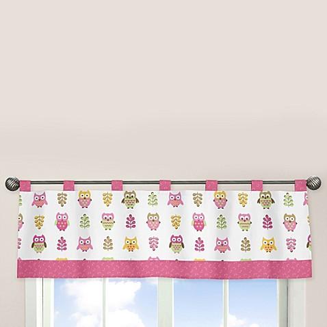 Sweet jojo designs happy owl window valance in pink bed for Sweet jojo designs bathroom