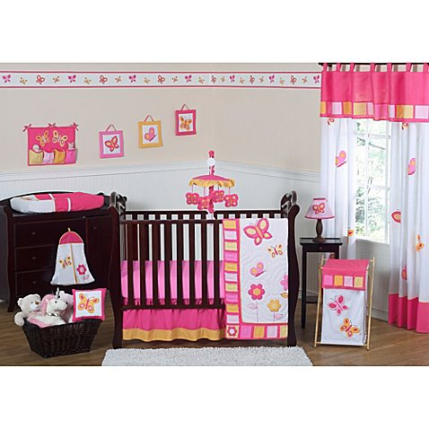 Sweet jojo designs pink and orange butterfly 11 piece crib for Pink and orange bathroom ideas