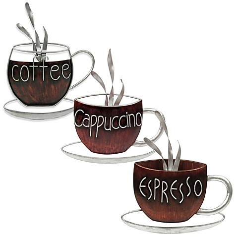 Coffee cup metal plaque for Tea and coffee wall art