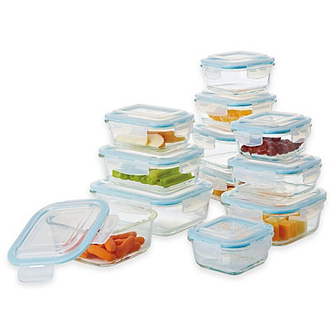 Pro Glass 24 Piece Food Storage Set With Easy Snap Lids