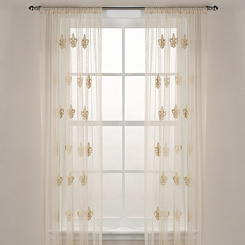 Fleur De Lis Sheer Window Curtain Panel In Ivory