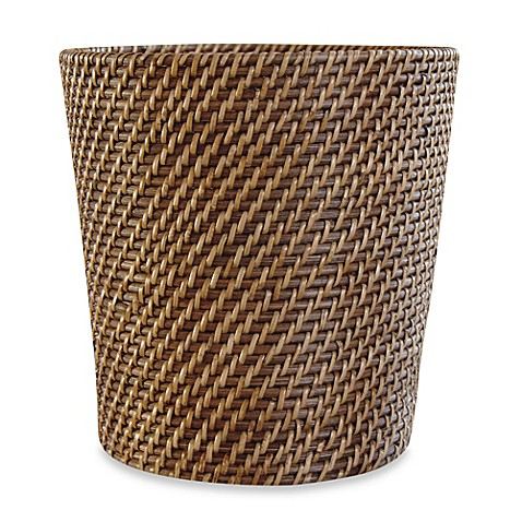 Buy avalon wicker waste basket from bed bath beyond for Waste baskets for bathroom