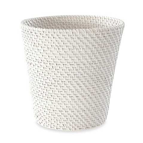 Cayman White Rattan Wastebasket Bed Bath Amp Beyond