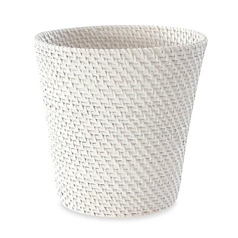 Cayman white rattan wastebasket bed bath beyond - White wicker bathroom accessories ...