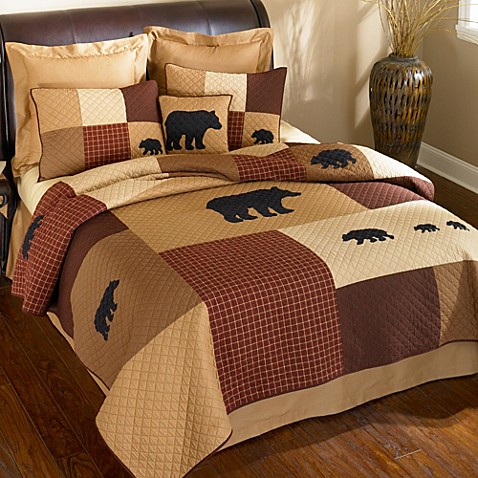 Donna Sharp Logan Bear Quilted Bedding Collection Bed