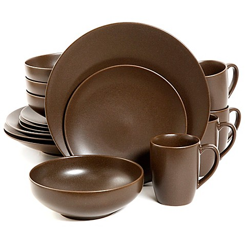 Gibson Paradiso 16 Piece Round Dinnerware Set In Brown