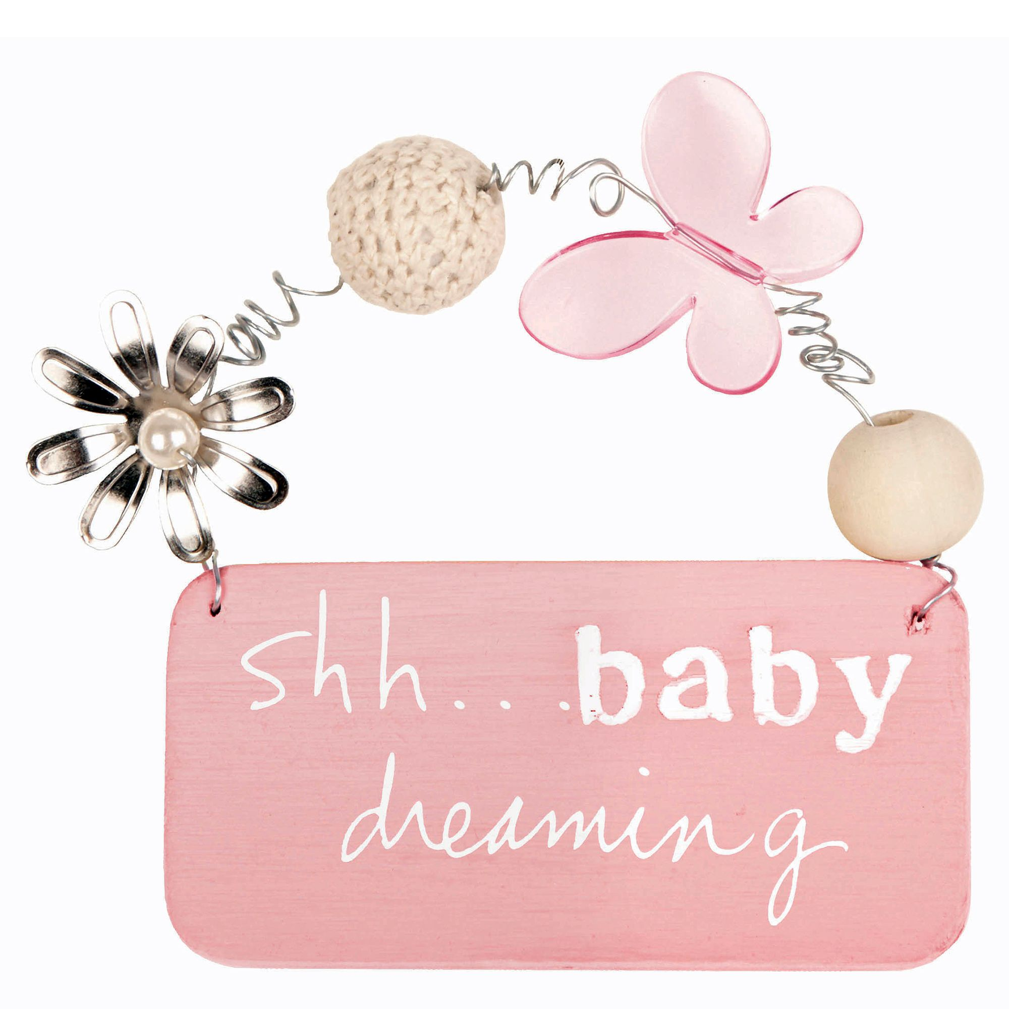 C.R. Gibson Shh...Baby Dreaming Small Plaque in Pink