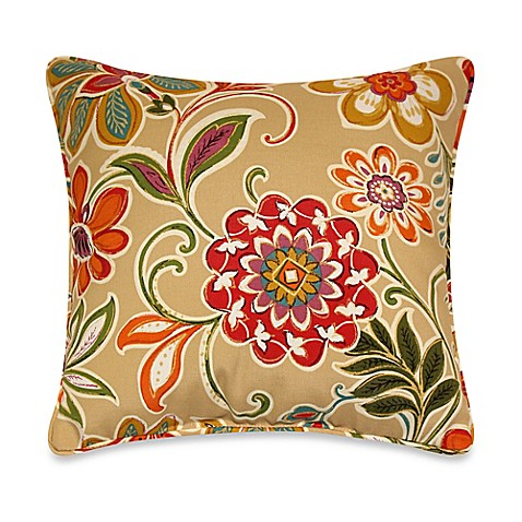 Modern Floral Throw Pillows : Modern Floral Square Throw Pillows with Corded Trim in Spice (Set of 2) - Bed Bath & Beyond