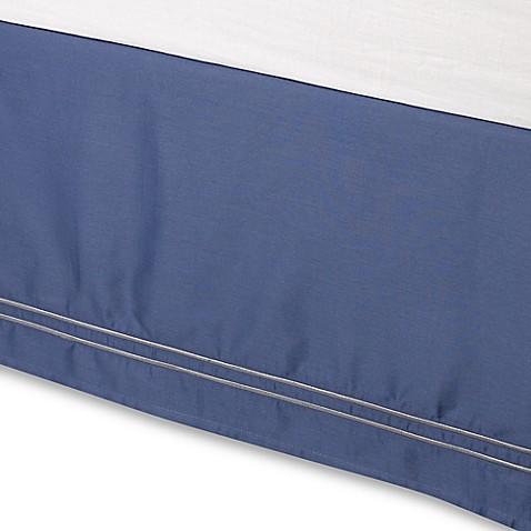 wamsutta 174 baratta stitch bed skirt in blue jean