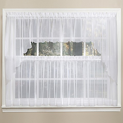 Emelia 14 inch sheer window valance in white bed bath for 14 inch window