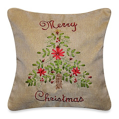 Merry Christmas Tree Throw Pillow in Natural - Bed Bath & Beyond