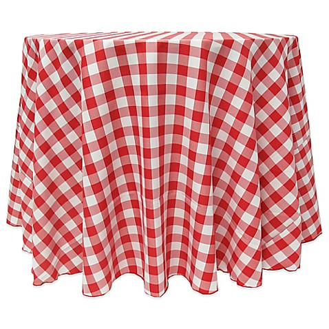 Buy gingham poly check 108 inch round tablecloth in red for 108 inch round table cloth