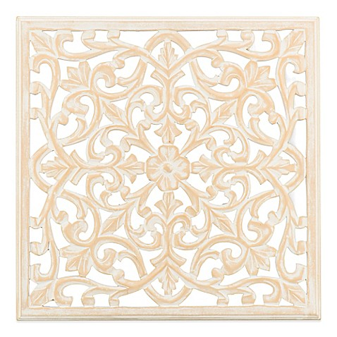 Moroccan Inspired 24 Inch Square Decorative Wood Carved