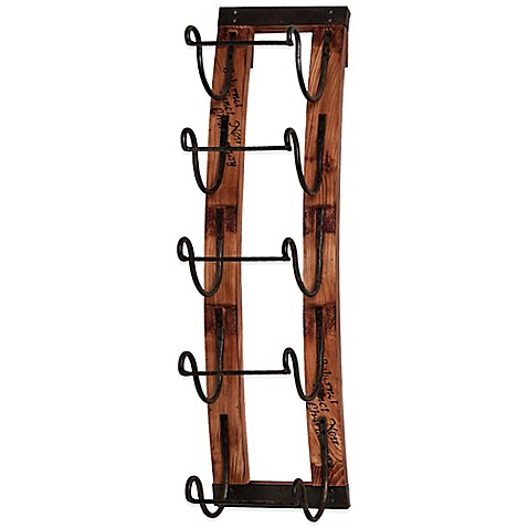 Buy 5 bottle hanging wine rack from bed bath beyond Hanging wooden wine rack