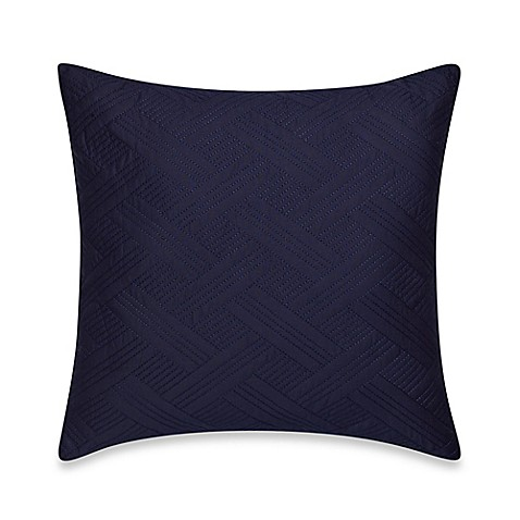 Nautica Decorative Pillows Navy : Nautica Haverdale Quilted Square Throw Pillow in Navy - BedBathandBeyond.com