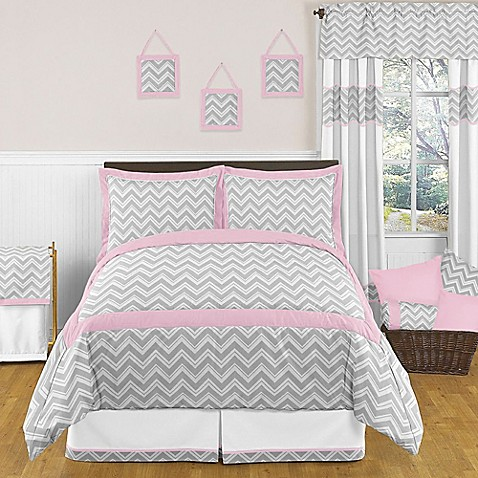 sweet jojo designs zig zag bedding collection in pink grey buybuy baby. Black Bedroom Furniture Sets. Home Design Ideas
