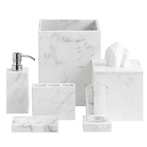 Camarillo marble bath ensemble bed bath beyond for White ceramic bathroom bin