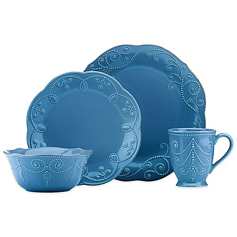 Lenox 174 French Perle Dinnerware Collection In Marine Blue