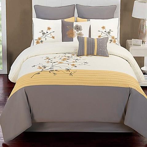 Camisha 8 Piece Comforter Set In Yellow Grey