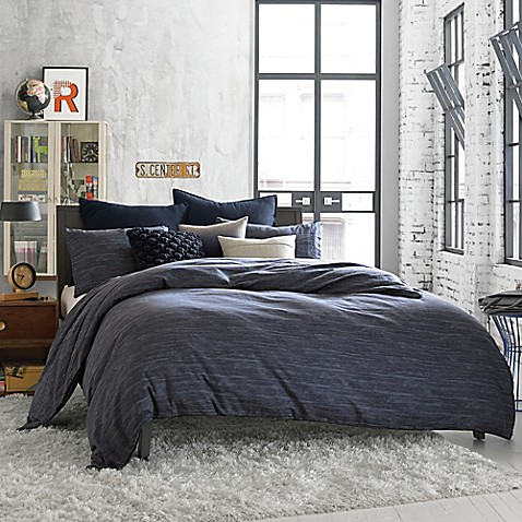 Kenneth Cole Reaction Home Element Reversible Twin Duvet Cover in Indigo at Bed Bath & Beyond in Cypress, TX | Tuggl