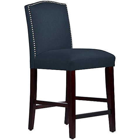 ... Nail Button Arched Counter Stool in Linen Navy - Bed Bath & Beyond