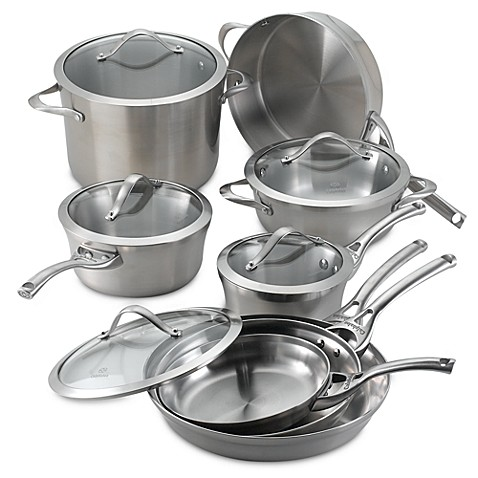 calphalon contemporary stainless steel 13 piece cookware set bed bath beyond. Black Bedroom Furniture Sets. Home Design Ideas