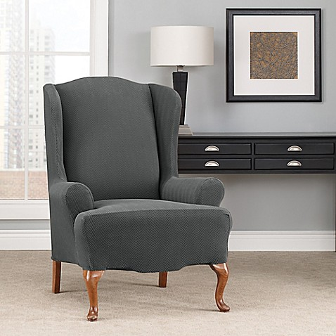 Sure Fit Modern Chevron Wing Chair Slipcover Bed Bath