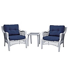 image of Stratford 3-Piece Wicker Chair Set in Blue