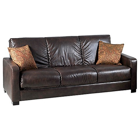 Handy Living Raisin Convert A Couch In Renu Brown With Paisley Accent Pillow