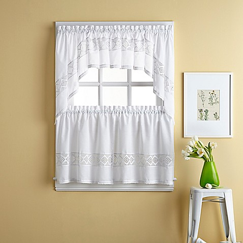 Kendra window curtain tier pair bed bath beyond - Swag valances for bathroom windows ...