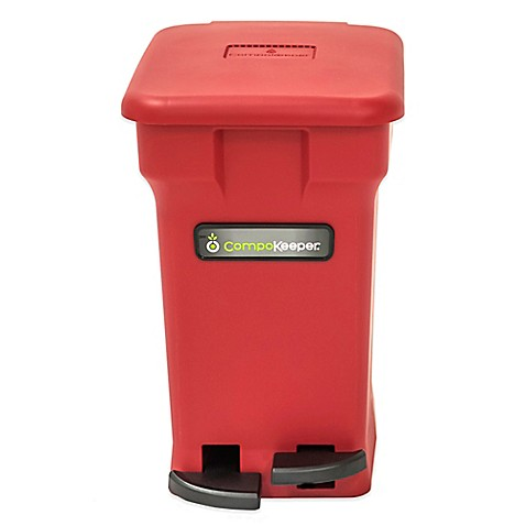 Buy compokeeper 6 gallon compost bin in red from bed bath for Red bathroom bin