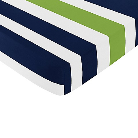 Sweet jojo designs navy and lime stripe fitted crib sheet bed bath