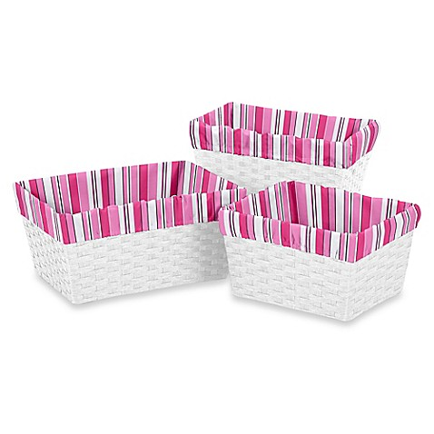 Sweet jojo designs madison basket liners set of 3 bed for Sweet jojo designs bathroom
