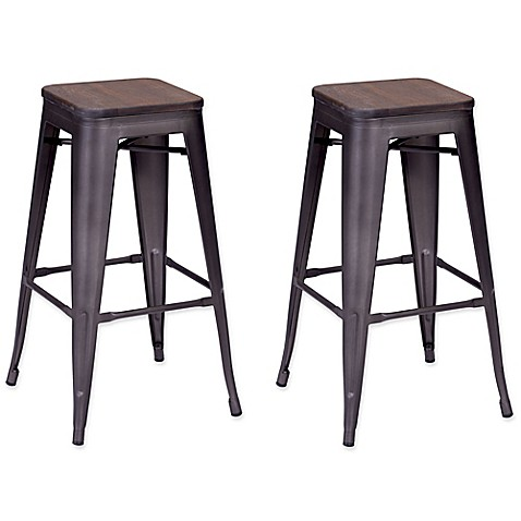 Buy Zuo 174 Marius Barstool In Rustic Wood Set Of 2 From