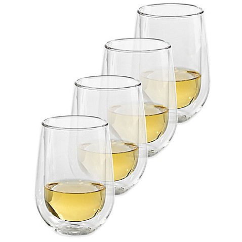 Wine enthusiast steady temp double wall stemless chardonnay glasses set of 4 bed bath beyond - Insulated stemless wine glasses ...