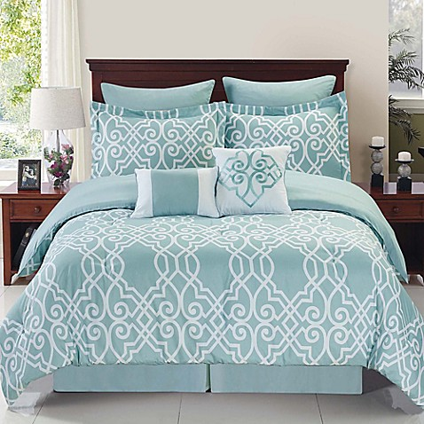 Dawson reversible comforter set in blue white bed bath for Matching bedroom and bathroom sets