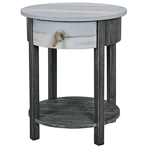 Lakeshore round accent side table in blue grey bed bath for Small bathroom accent tables