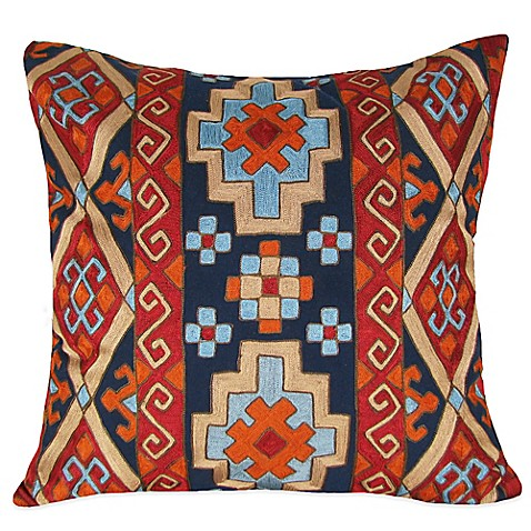 Diamond Border Kilm Pattern Embroidered Square Throw Pillow in Blue - Bed Bath & Beyond