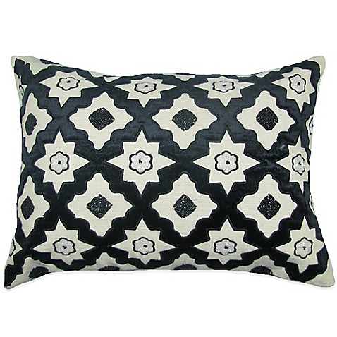 Buy Bib Hand Embroidered Oblong Throw Pillow in Black from Bed Bath & Beyond