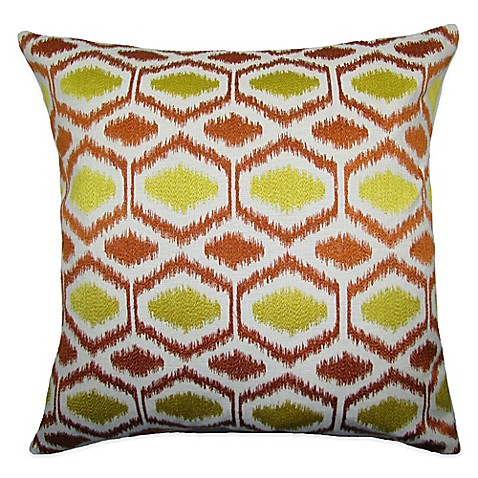 Orange Throw Pillows For Bed : Buy Ikat Dots Square Throw Pillow in Yellow/Orange from Bed Bath & Beyond
