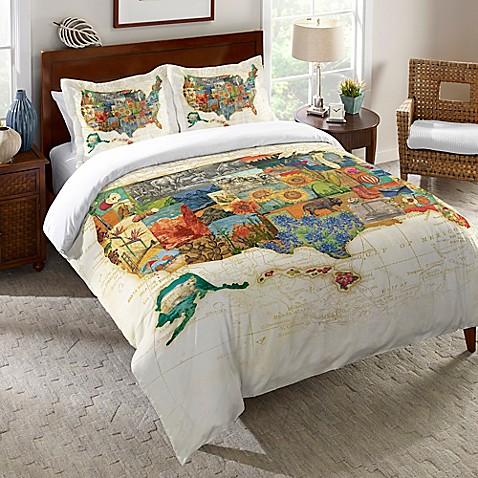 Laural Home 174 Vintage Travel Map Duvet Cover Bed Bath Amp Beyond
