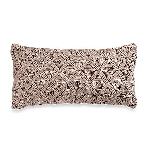 Wamsutta 174 Vintage Washed Linen Macram 233 Oblong Throw Pillow