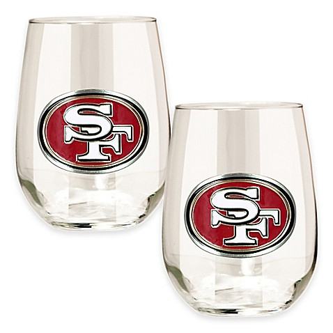 Buy nfl san francisco 49ers stemless wine glass set of 2 for 49ers bathroom decor