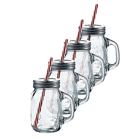 la maison mason jar mug with lid and straw bed bath beyond. Black Bedroom Furniture Sets. Home Design Ideas