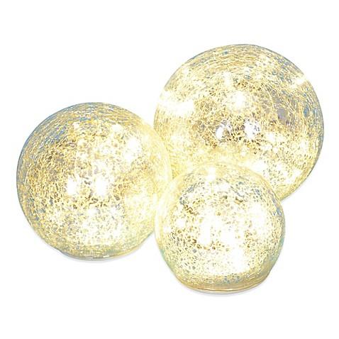 Led Crackle Glass Spheres Set Of 3 Bed Bath Amp Beyond