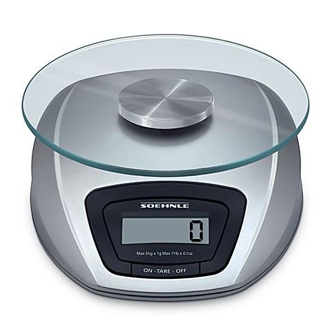 soehnle siena precision digital food scale in silver bed