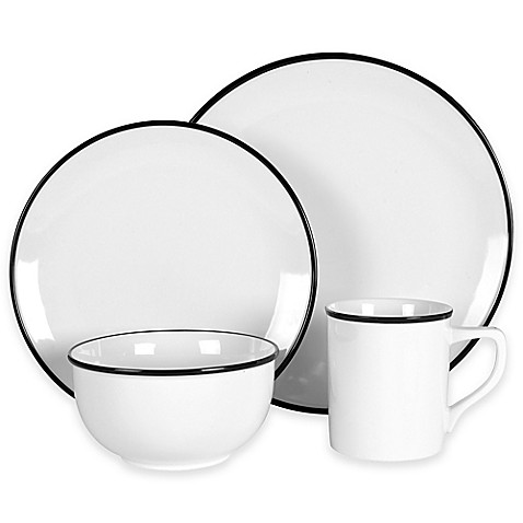 Everyday White® by Fitz and Floyd® Black Rim Dinnerware at Bed Bath & Beyond in Cypress, TX | Tuggl